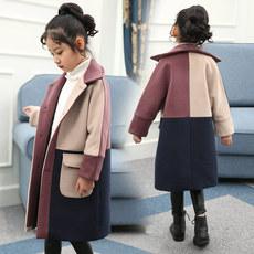 韩版 冬装 加厚中长款 女童毛呢外套2017新款 呢子大衣公主童装 洋气潮