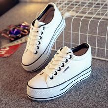 女小白鞋 女单鞋 韩版 内增高厚底松糕布鞋 人本帆布鞋 女学生球鞋 女鞋