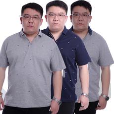 霸王鼠夏季加肥加大码男士短袖t恤特大号肥佬胖子男翻领半袖T恤衫