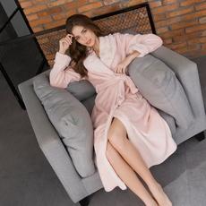 珊瑚绒睡衣女秋冬季加厚法兰绒韩版性感加长款睡袍浴袍长袖家居服