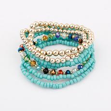 1302精美饰品 特价 韩版欧美串珠波西米亚弹力缤纷手链(海蓝)