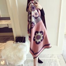 小溜家韩版秋冬季太阳花仿羊绒围巾女披肩两用超大加厚保暖围脖