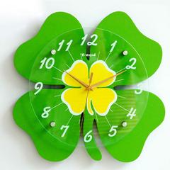 包邮天伟达静音挂钟创意钟表艺术时钟田园客厅石英钟幸运草钟表