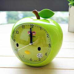 创意钟表居家日用生活儿童学习懒人卡通苹果可爱小闹钟静音带夜灯