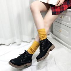 chic马丁靴女英伦风平底网红小短靴2018秋冬新款学院风加绒小皮靴