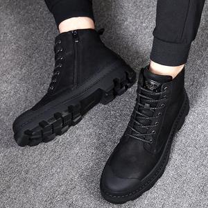马丁靴男靴子男鞋冬季高帮军靴男士中帮保暖加绒棉鞋雪地短靴男潮马丁靴