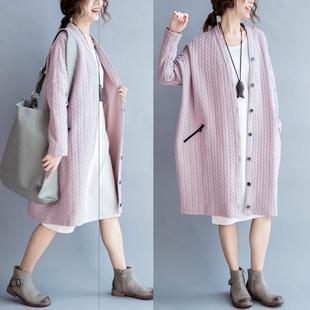 大码女装外套200斤胖妹妹宽松春装韩版文艺范显瘦中长款开衫棉衣