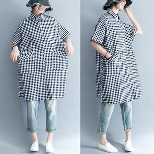 格子衬衫女短袖2018夏装新款韩版宽松大码显瘦中长款棉麻衬衣裙潮