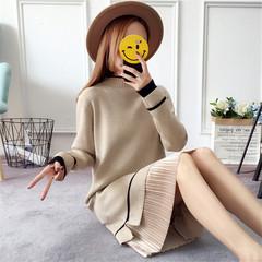 2018新款秋冬韩版半高领套头毛衣女加绒打底针织过膝中长款连衣裙