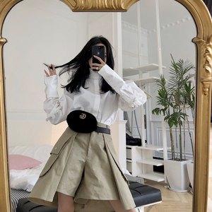 IAMC定制 超火chic潮多层设计大口袋A型工装五分裤<span class=H>女</span>裤子2018新款