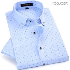 夏季男士短袖衬衫韩版修身半袖印花薄款衬衣商务休闲潮流男装