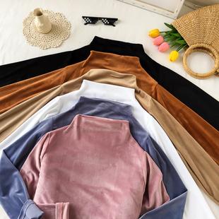 简约纯色半高领打底衫秋季女装2018新款复古丝绒上衣学生长袖T恤