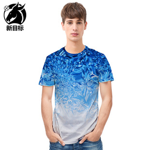 explosion of 2018 new summer snow ice gradient T-shirt 3D
