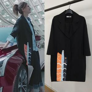 恋爱先生江疏影罗玥同款衣服韩版黑色宽松风衣中长款小西装女外套女式外套