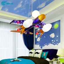 热卖儿童房创意吊灯卧室飞机卡通灯具书房护眼铁艺男孩LED111V~2