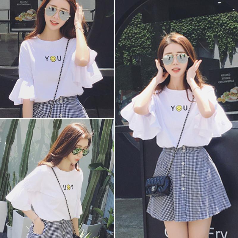 2018新款夏季女韩版小清新格子短裙子 套装时尚学生两件套连衣裙图片