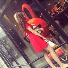 针织连衣裙短袖 红裙子夏修身 新款 连衣裙夏季中长款 红色连衣裙中裙