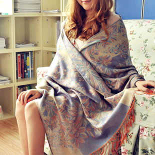 春秋丽江民族风棉麻围巾女冬季丝巾韩版百搭加厚空调披肩两用超长
