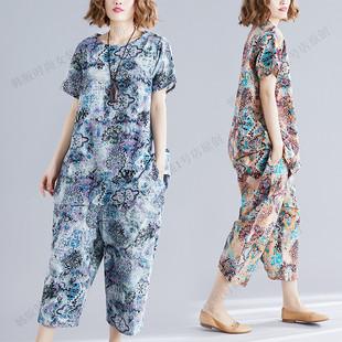 棉麻短袖套装夏装新款韩版大码女装宽松复古文艺民族风衣裤两件套