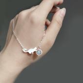 日韩流行饰品S925银猫咪月光石手链小清新校园风学生闺蜜礼物手环