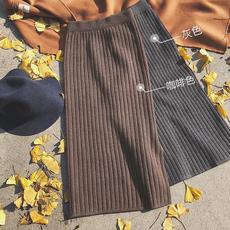 2017秋冬新款韩版高腰针织半身裙女冬季加厚中长款毛线一步长裙子