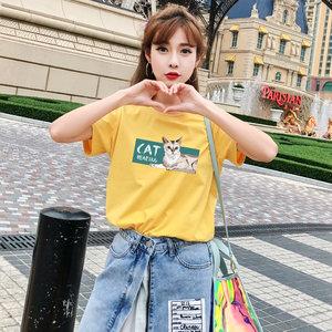 ins短袖<span class=H>t恤</span>女2018新款上衣半袖黄色韩版bf学生宽松ulzzang百搭