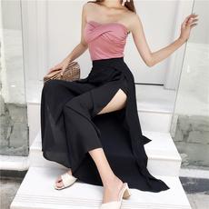 复古韩版chic风气质百搭无敌开叉大摆雪纺阔腿裤时尚显瘦黑色裙裤