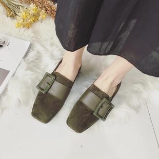 鞋子女 韩版OL时尚复古百搭帅气皮带扣绒面方头中口休闲中跟单鞋