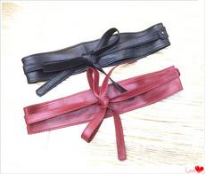 外贸原单真皮进口羊皮 女士超实用2圈蝴蝶结绑带宽腰封腰带皮带特