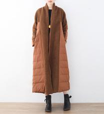 17冬季新款简约宽松大码轻薄高档白鸭绒加长厚女士羽绒服外套风衣
