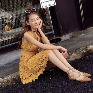 夏季女装新款礼服蕾丝连衣裙2018韩版百搭修身v领无袖背心A字短裙