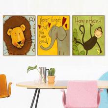 饰画油画上色画 手工diy数字油彩画卡通儿童房动物挂画手绘家居装