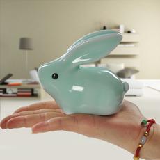 【天天特价】 陶瓷家居简约客厅饰品摆件 小兔子工艺品茶宠包邮