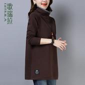 歌瑞拉加厚卫衣女2018秋冬新款 显瘦中长款上衣女宽松高领打底衫