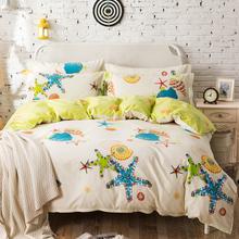 挚缘纺纯棉床上四件套全棉床单款 卡通1.5 1.8米床简约被套宿舍1.2