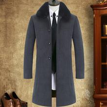 中年男装大衣2018新款中老年男式长款毛呢大衣爸爸长大衣呢子外套