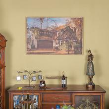 新中式风格样板房木框油画壁饰别墅客厅挂画家居软装简约创意饰品