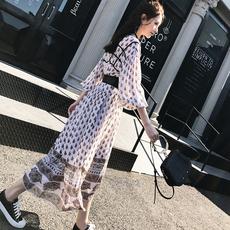 2017秋装新款女装韩版碎花裙子雪纺气质长袖连衣裙打底显瘦长裙