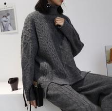 【阿一家】混纺羊绒高领套头菱格麻花毛衣女厚实韩版长袖针织线衫