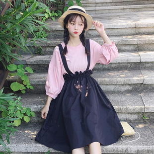 2019韩版新款显瘦学生夏装灯笼袖打底衫连衣裙少女高腰背带两件套
