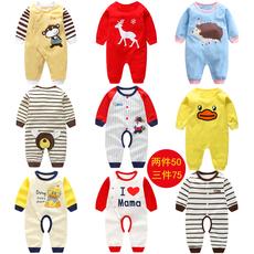 婴儿连体衣服春秋男宝宝0-1岁女新生儿长袖纯棉睡衣薄款哈衣秋装