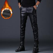 品质加绒保暖小脚摩托车裤 皮裤 机车皮裤 新款 男刺绣亚光紧身男装