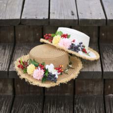 包邮沙滩帽子花朵女夏海边大檐遮阳帽波西米亚防晒太阳草帽森女系
