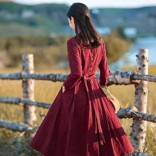 新款棉麻改良旗袍连衣裙长袖秋装女2018红色中长款修身长裙子