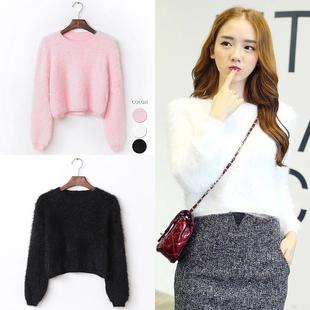 2016冬装新款兔毛毛衣女士套头百搭韩版时尚修身纯色短款套头长袖