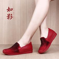 如影女鞋2018春季新款时尚休闲水钻单鞋女牛皮坡跟舒适乐福鞋女鞋
