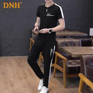 男士夏季套装休闲运动<span class=H>男装</span>短袖T恤韩版帅气修身两件套潮流上衣服