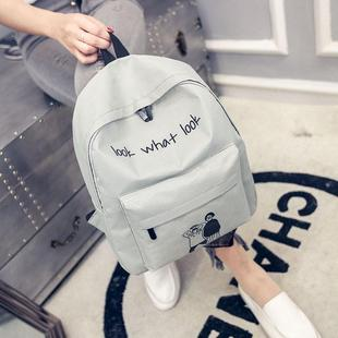 韩版帆布双肩看什么看印花背包大容运动旅行学生书包包女双量包女