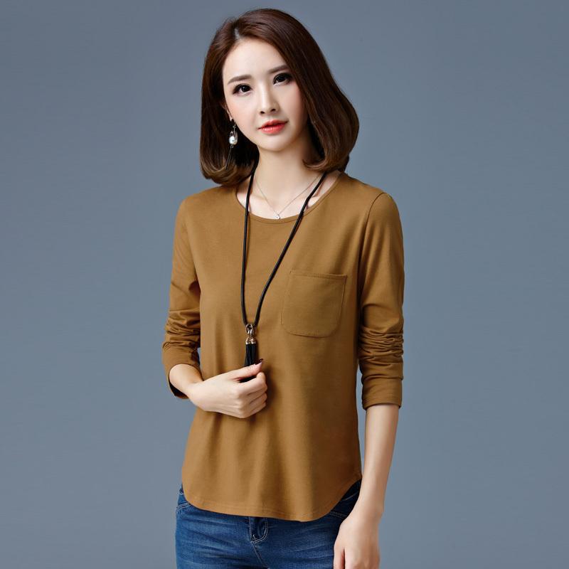 显瘦T恤女士小衫秋韩版长袖上衣中青年少妇30-35-40岁纯棉妈妈装图片