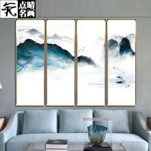 山水泛舟晶瓷装 饰画客厅背景墙艺术现代北欧创意写意家居挂画壁画